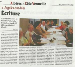 Article Semaine du Roussillon 8.11.2012
